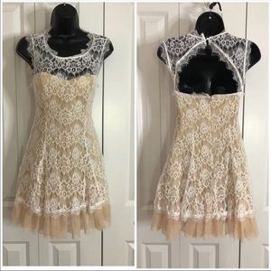 NWT Small white and nude tulle dress